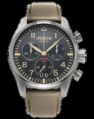 Pánske hodinky ALPINA STARTIMER PILOT BIG DATE CAMOUFLAGE GREY AL-372BGR4S6
